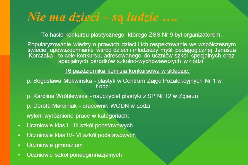 To hasło konkursu plastycznego, którego ZSS Nr 9 był organizatorem. Popularyzowanie wiedzy o prawach dzieci i ich respektowanie we współczesnym świeci