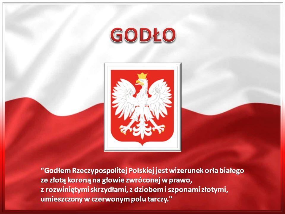 Godłem Rzeczypospolitej Polskiej jest wizerunek orła białego ze złotą koroną na głowie zwróconej w prawo, z rozwiniętymi skrzydłami, z dziobem i szponami złotymi, umieszczony w czerwonym polu tarczy.