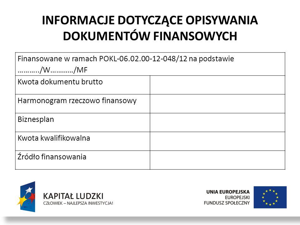 INFORMACJE DOTYCZĄCE OPISYWANIA DOKUMENTÓW FINANSOWYCH Finansowane w ramach POKL-06.02.00-12-048/12 na podstawie ………../W…………/MF Kwota dokumentu brutto