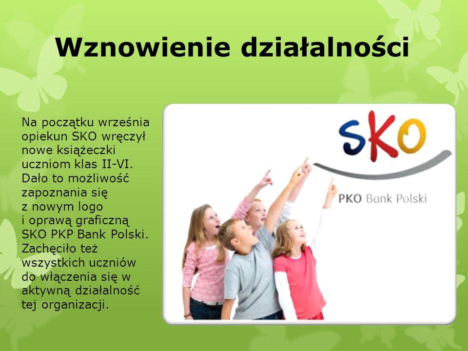 Wznowienie działalności Na początku września opiekun SKO wręczył nowe książeczki uczniom klas II-VI. Dało to możliwość zapoznania się z nowym logo i o