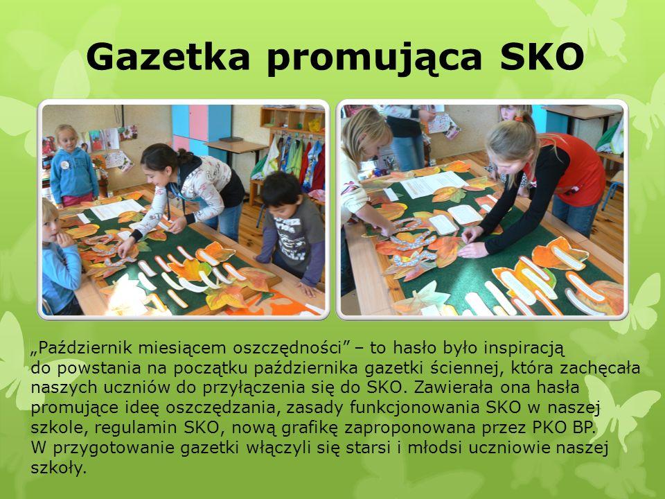 Gazetka promująca SKO Październik miesiącem oszczędności – to hasło było inspiracją do powstania na początku października gazetki ściennej, która zach