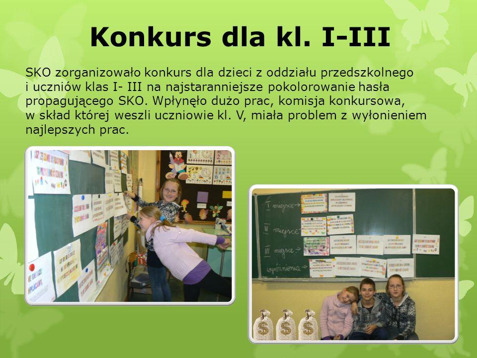 Konkurs dla kl. I-III SKO zorganizowało konkurs dla dzieci z oddziału przedszkolnego i uczniów klas I- III na najstaranniejsze pokolorowanie hasła pro