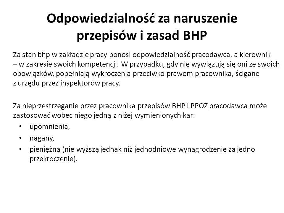 Odpowiedzialność za naruszenie przepisów i zasad BHP Za stan bhp w zakładzie pracy ponosi odpowiedzialność pracodawca, a kierownik – w zakresie swoich