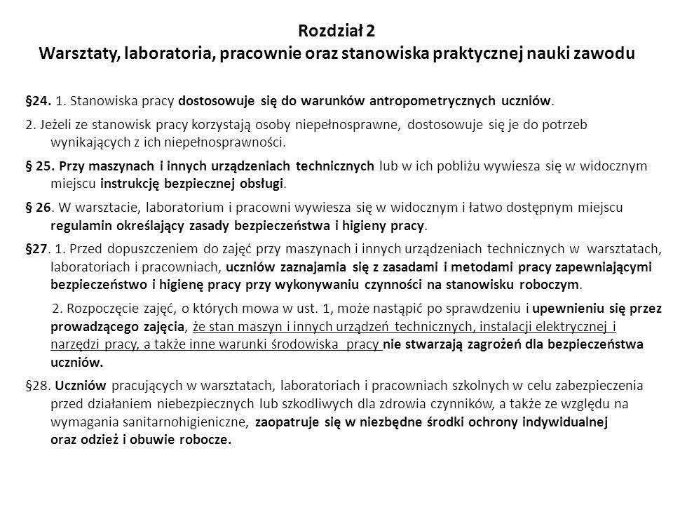 Rozdział 2 Warsztaty, laboratoria, pracownie oraz stanowiska praktycznej nauki zawodu §24. 1. Stanowiska pracy dostosowuje się do warunków antropometr