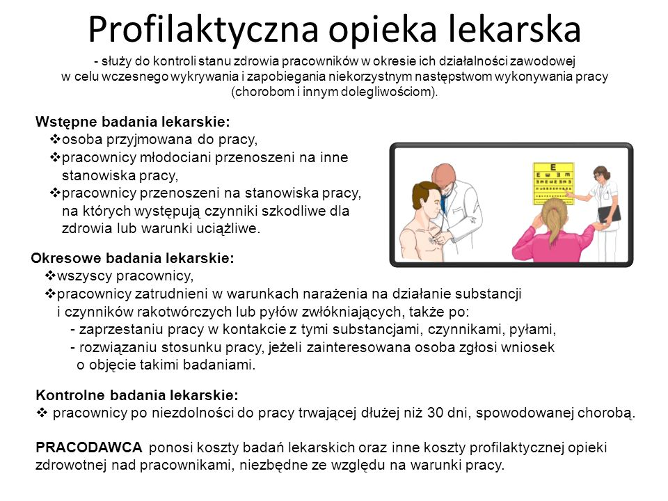 BADANIA LEKARSKIE Wstępne badania lekarskie: osoba przyjmowana do pracy, pracownicy młodociani przenoszeni na inne stanowiska pracy, pracownicy przeno