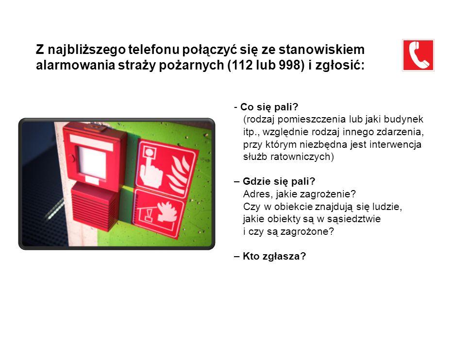 Z najbliższego telefonu połączyć się ze stanowiskiem alarmowania straży pożarnych (112 lub 998) i zgłosić: - Co się pali? (rodzaj pomieszczenia lub ja