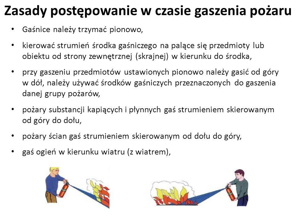 Zasady postępowanie w czasie gaszenia pożaru Gaśnice należy trzymać pionowo, kierować strumień środka gaśniczego na palące się przedmioty lub obiektu
