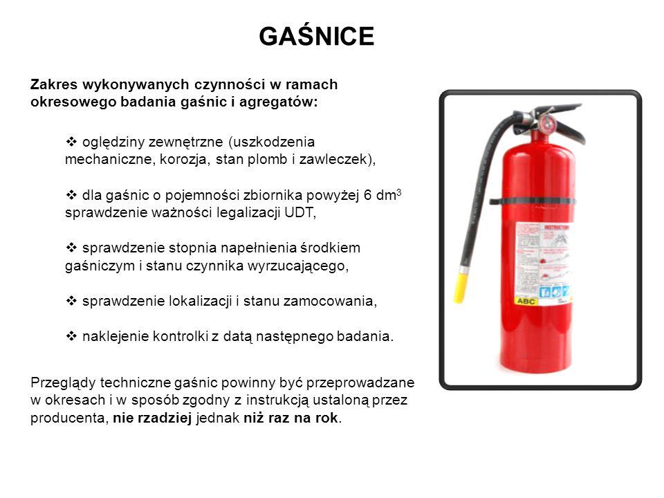 GAŚNICE Zakres wykonywanych czynności w ramach okresowego badania gaśnic i agregatów: oględziny zewnętrzne (uszkodzenia mechaniczne, korozja, stan plo