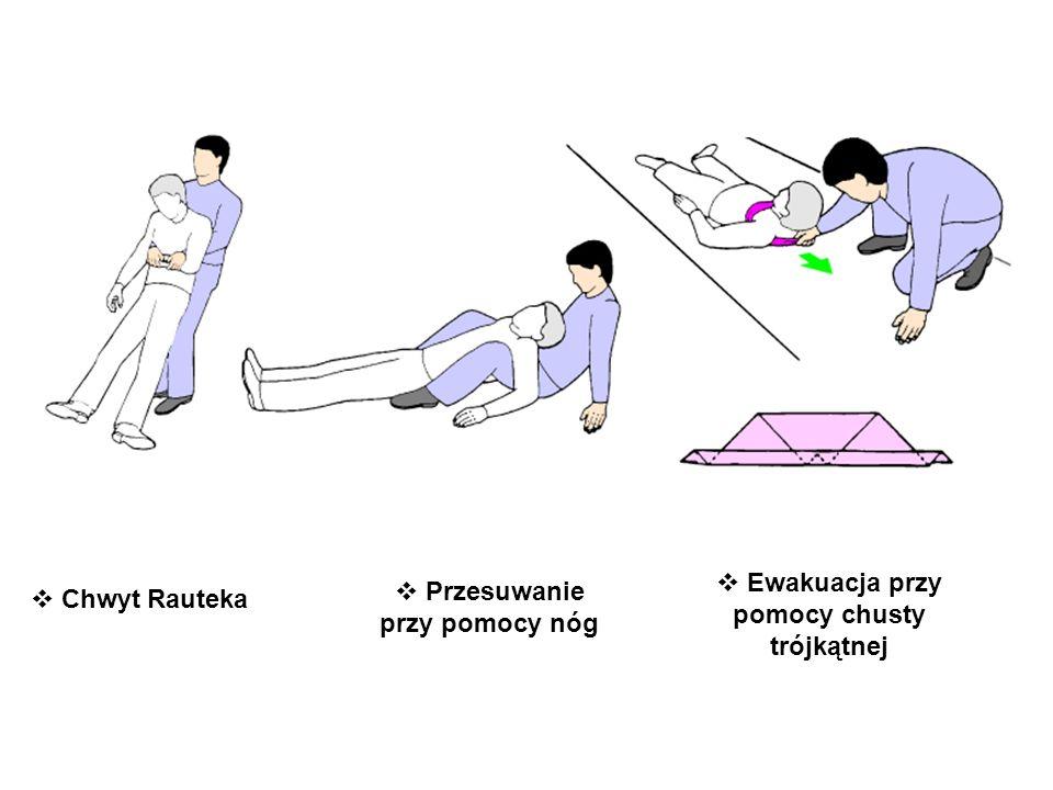 PRZENOSZENIE W POZYCJI PIONOWEJ Chwyt Rauteka Przesuwanie przy pomocy nóg Ewakuacja przy pomocy chusty trójkątnej