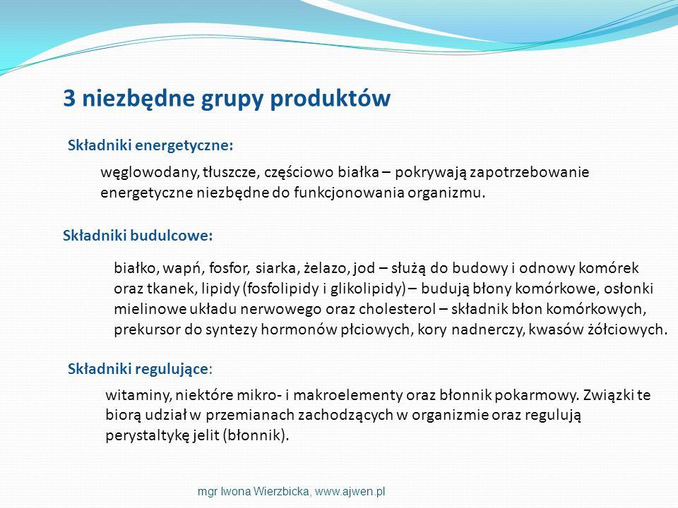 witaminy, niektóre mikro- i makroelementy oraz błonnik pokarmowy. Związki te biorą udział w przemianach zachodzących w organizmie oraz regulują peryst