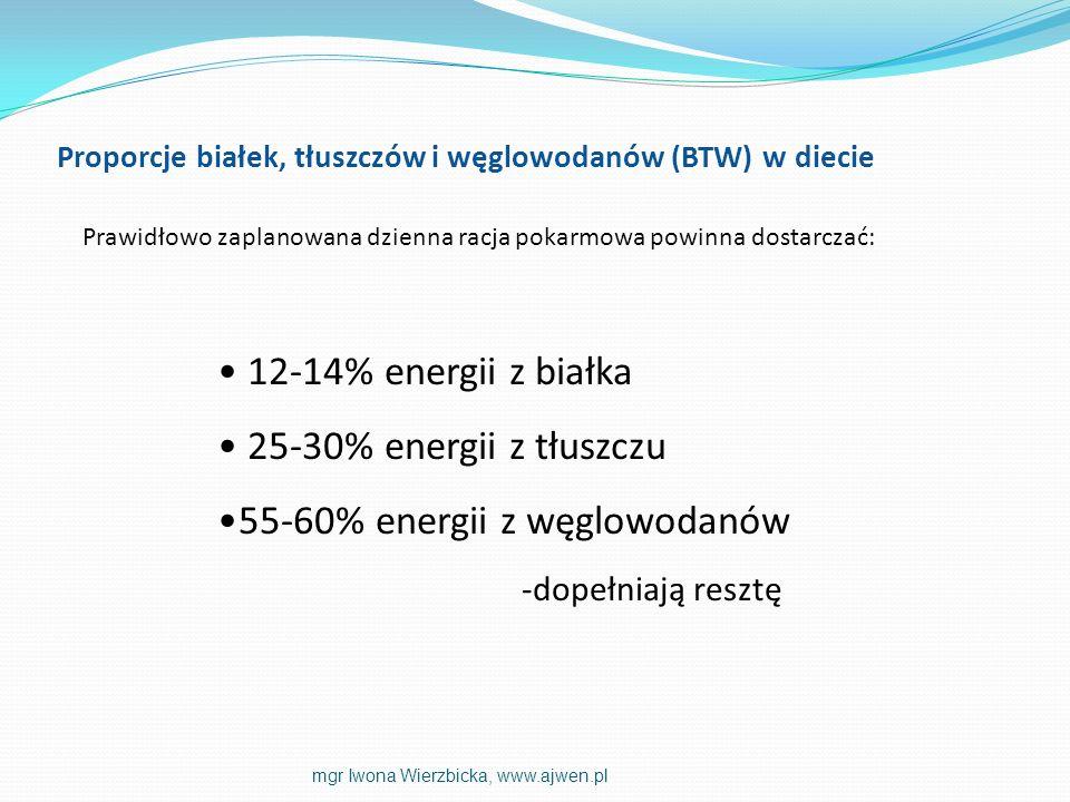 12-14% energii z białka 25-30% energii z tłuszczu 55-60% energii z węglowodanów -dopełniają resztę Proporcje białek, tłuszczów i węglowodanów (BTW) w