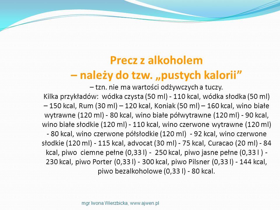 Precz z alkoholem – należy do tzw. pustych kalorii – tzn. nie ma wartości odżywczych a tuczy. Kilka przykładów: wódka czysta (50 ml) - 110 kcal, wódka