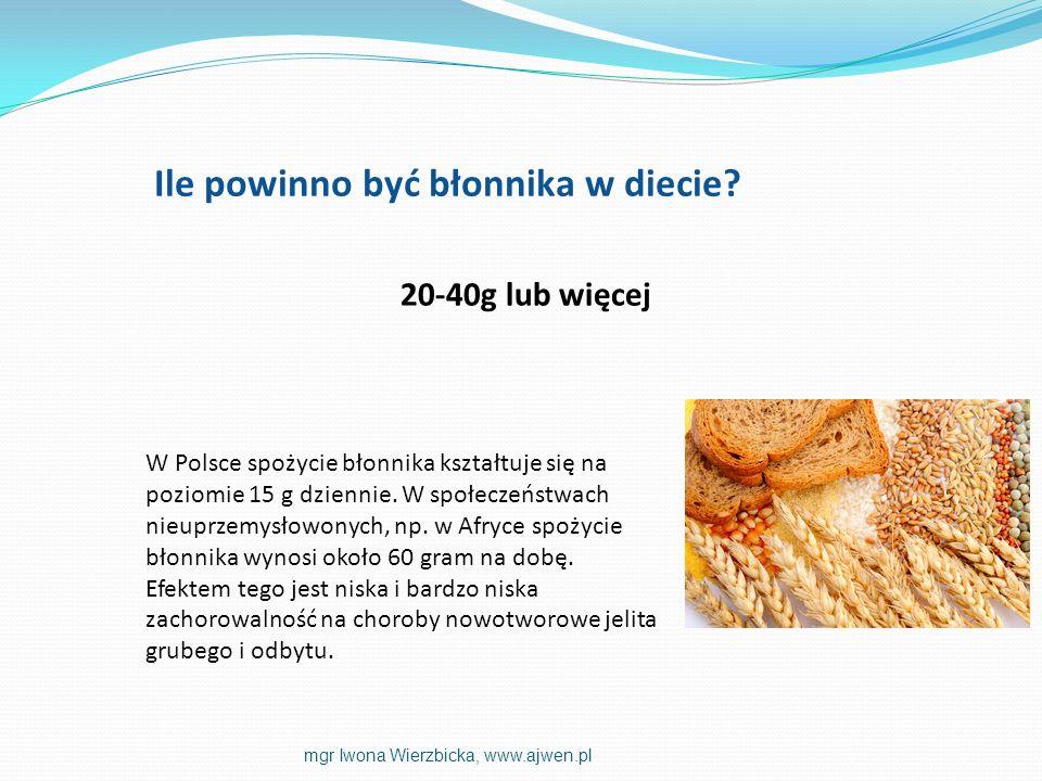 W Polsce spożycie błonnika kształtuje się na poziomie 15 g dziennie. W społeczeństwach nieuprzemysłowonych, np. w Afryce spożycie błonnika wynosi okoł