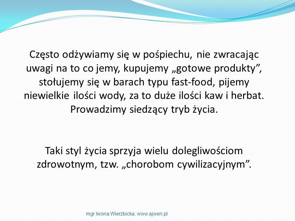 Antyoksydanty egzogenne dostarczane wraz z pożywieniem: witamina A witamina C witamina E karotenoidy (α i β-karoten, likopen, luteina) ksantofile egzogenny koenzym Q10 polifenole Dodatkowo biopierwiastki: cynk, miedź, selen, mangan, kobalt mgr Iwona Wierzbicka, www.ajwen.pl