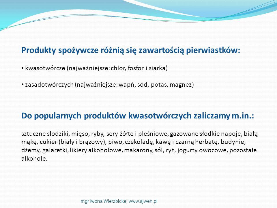 Produkty spożywcze różnią się zawartością pierwiastków: kwasotwórcze (najważniejsze: chlor, fosfor i siarka) zasadotwórczych (najważniejsze: wapń, sód
