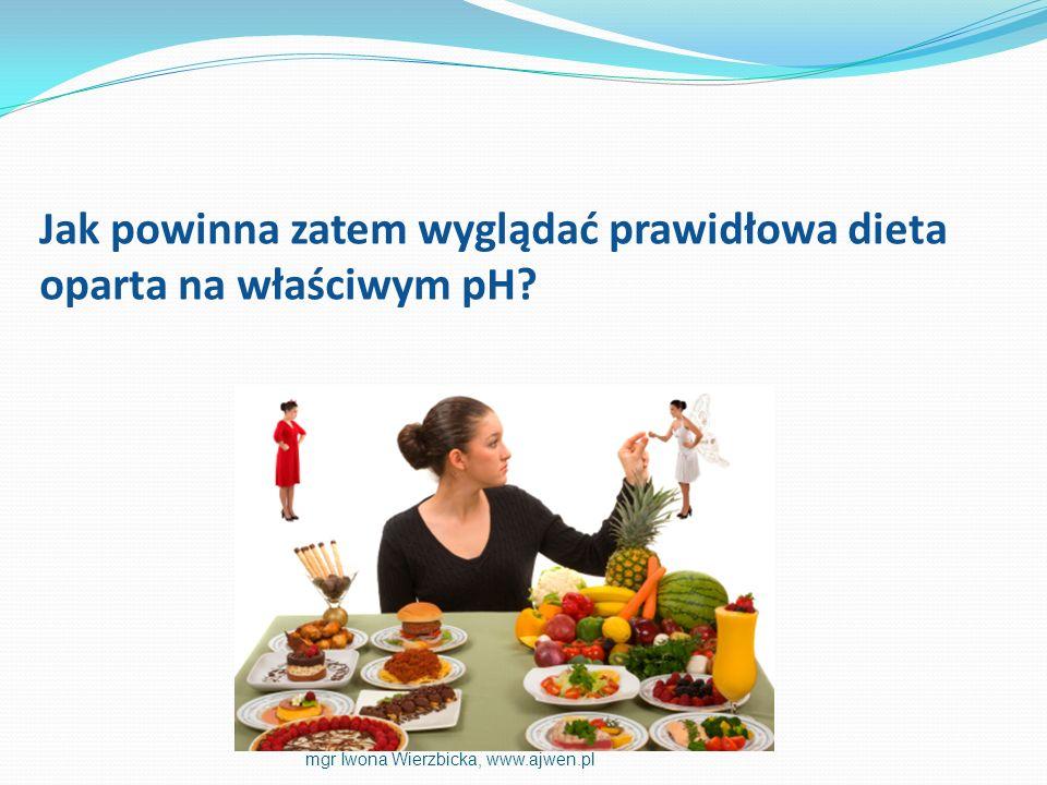 Jak powinna zatem wyglądać prawidłowa dieta oparta na właściwym pH? mgr Iwona Wierzbicka, www.ajwen.pl