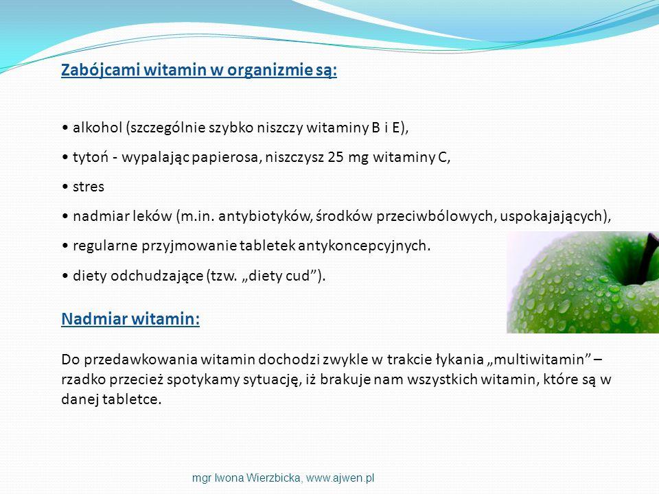 Niedobory witamin mogą się objawiać: trudno gojące się wypryski, sucha skóra - brak witaminy A, wiotka skóra - brak witaminy E, blada, zmęczona cera - brak kwasu foliowego lub żelaza, cienie pod oczami, pękające naczynka - brak witaminy K, zajady w kącikach ust, słabe paznokcie - brak witaminy B2, szara cera - brak witaminy B6 mgr Iwona Wierzbicka, www.ajwen.pl