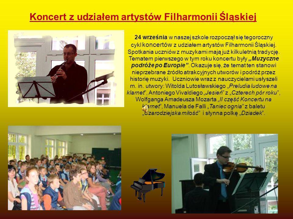 24 września w naszej szkole rozpoczął się tegoroczny cykl koncertów z udziałem artystów Filharmonii Śląskiej. Spotkania uczniów z muzykami mają już ki