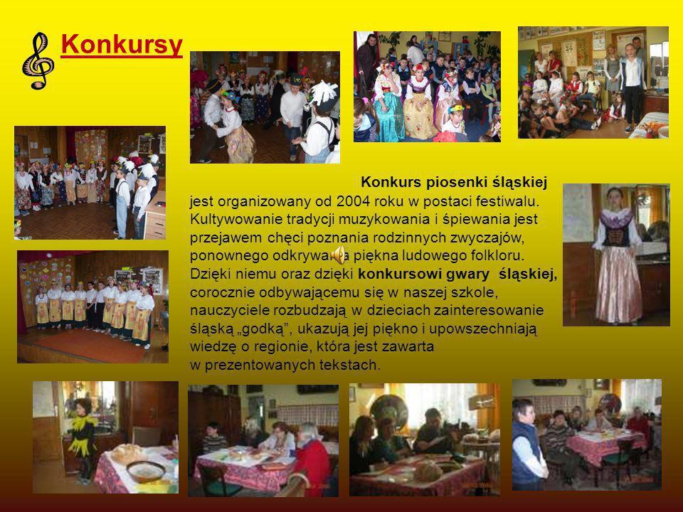 Konkursy Konkurs piosenki śląskiej jest organizowany od 2004 roku w postaci festiwalu. Kultywowanie tradycji muzykowania i śpiewania jest przejawem ch