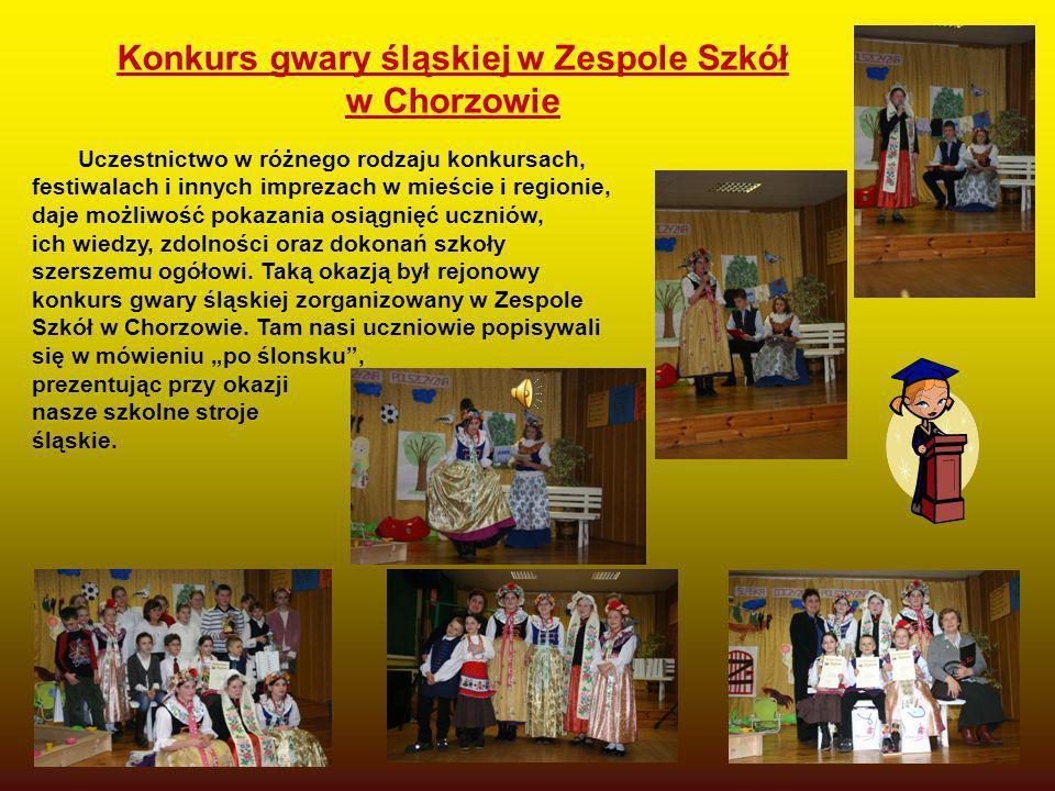 Konkurs gwary śląskiej w Zespole Szkół w Chorzowie Uczestnictwo w różnego rodzaju konkursach, festiwalach i innych imprezach w mieście i regionie, daj