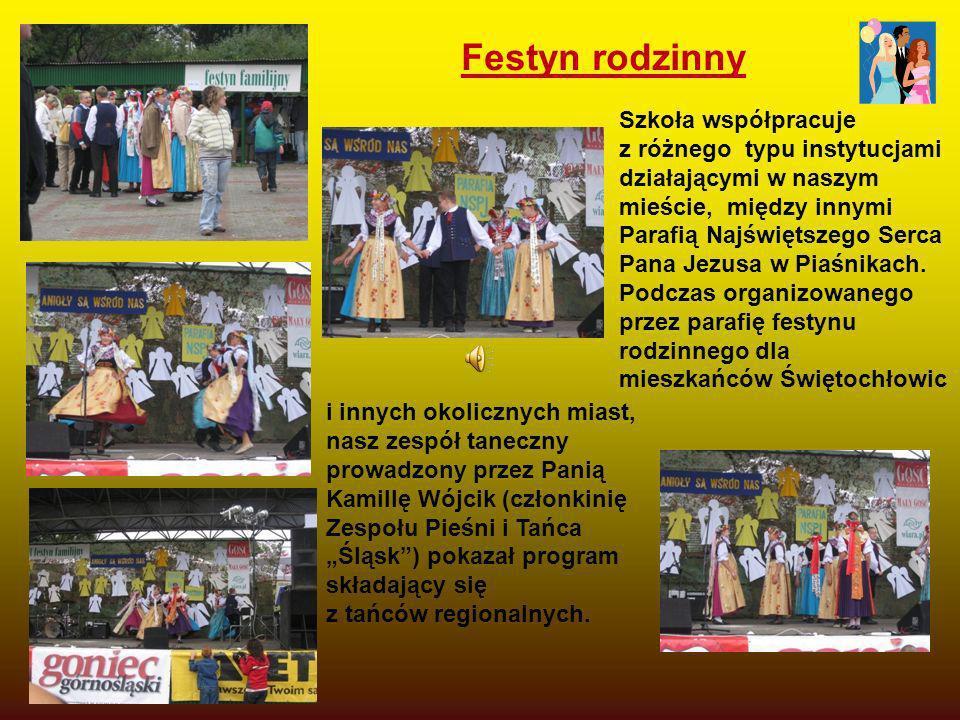 Festyn rodzinny Szkoła współpracuje z różnego typu instytucjami działającymi w naszym mieście, między innymi Parafią Najświętszego Serca Pana Jezusa w
