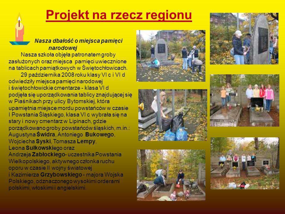 Projekt na rzecz regionu Nasza dbałość o miejsca pamięci narodowej Nasza szkoła objęła patronatem groby zasłużonych oraz miejsca pamięci uwiecznione n