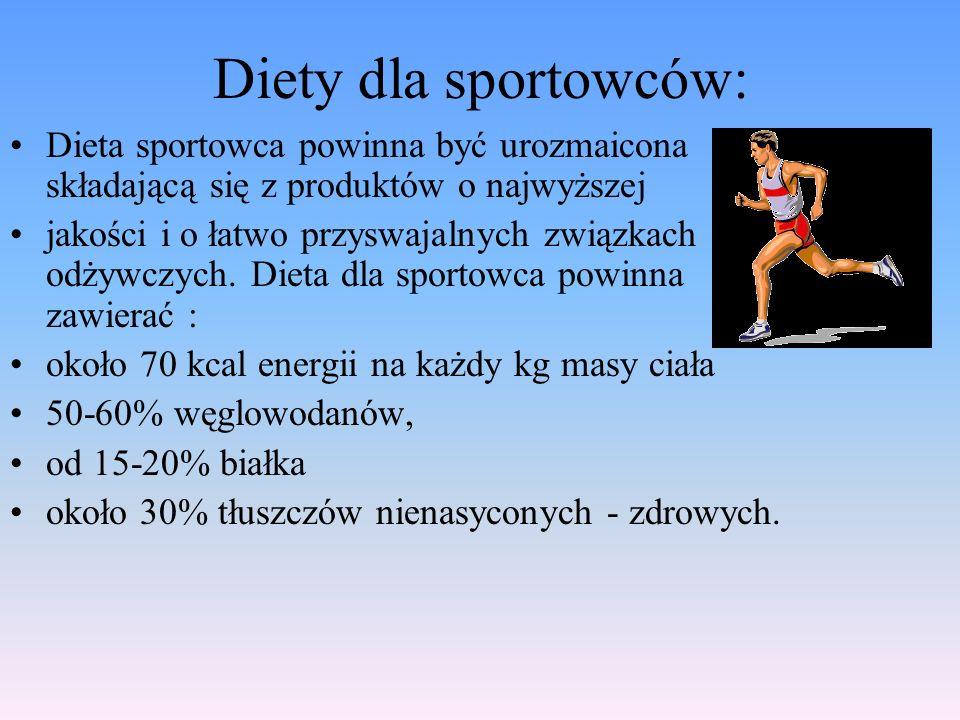 Diety dla sportowców: Dieta sportowca powinna być urozmaicona składającą się z produktów o najwyższej jakości i o łatwo przyswajalnych związkach odżyw
