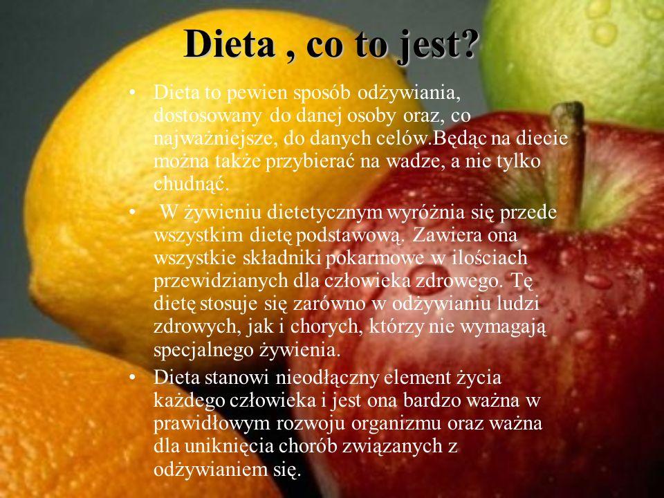 Dieta, co to jest? Dieta to pewien sposób odżywiania, dostosowany do danej osoby oraz, co najważniejsze, do danych celów.Będąc na diecie można także p