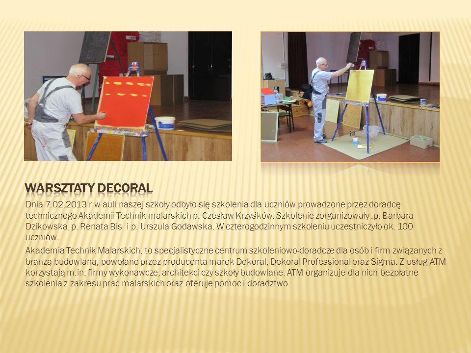 Dnia 7.02.2013 r w auli naszej szkoły odbyło się szkolenia dla uczniów prowadzone przez doradcę technicznego Akademii Technik malarskich p. Czesław Kr