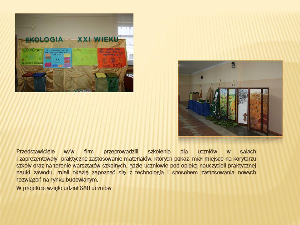 Przedstawiciele w/w firm przeprowadzili szkolenia dla uczniów w salach i zaprezentowały praktyczne zastosowanie materiałów, których pokaz miał miejsce