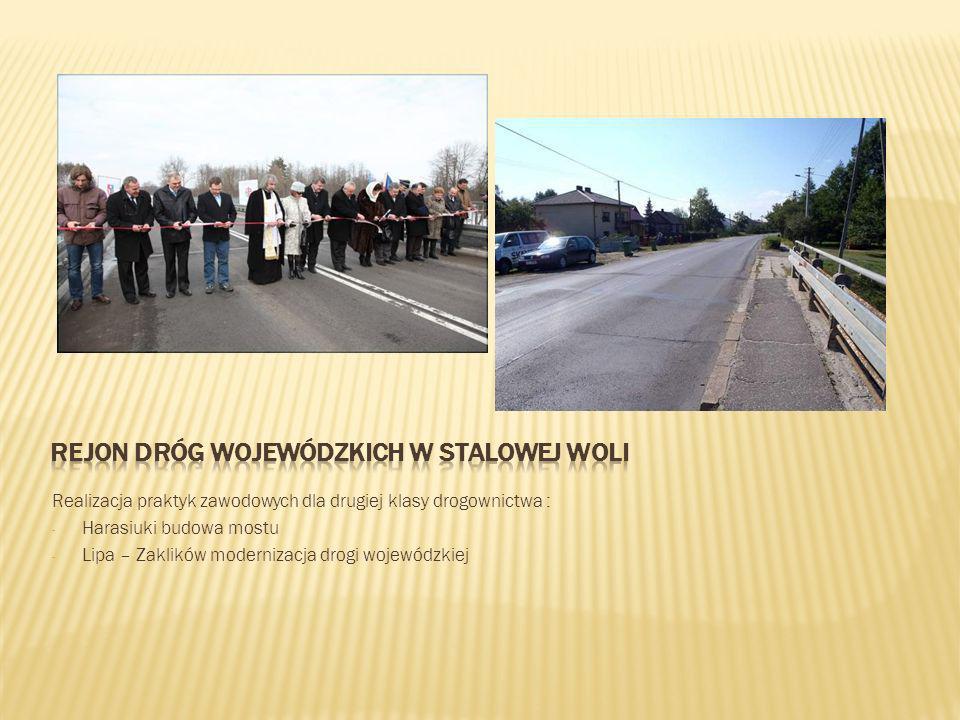 Realizacja praktyk zawodowych dla drugiej klasy drogownictwa : - Harasiuki budowa mostu - Lipa – Zaklików modernizacja drogi wojewódzkiej