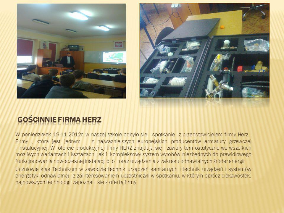 W dniu 07.12.2012 odbyło się na auli szkoły szkolenie dla klas 1 TS ( technik urządzeń sanitarnych), 1 TEC ( technik urządzeń i systemów energetyki odnawialnej ), 223 ( monter instalacji i urządzeń sanitarnych ).
