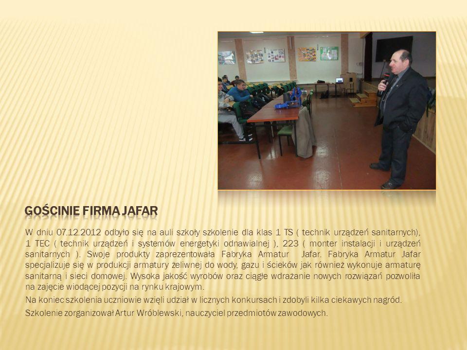 W dniu 07.12.2012 odbyło się na auli szkoły szkolenie dla klas 1 TS ( technik urządzeń sanitarnych), 1 TEC ( technik urządzeń i systemów energetyki od
