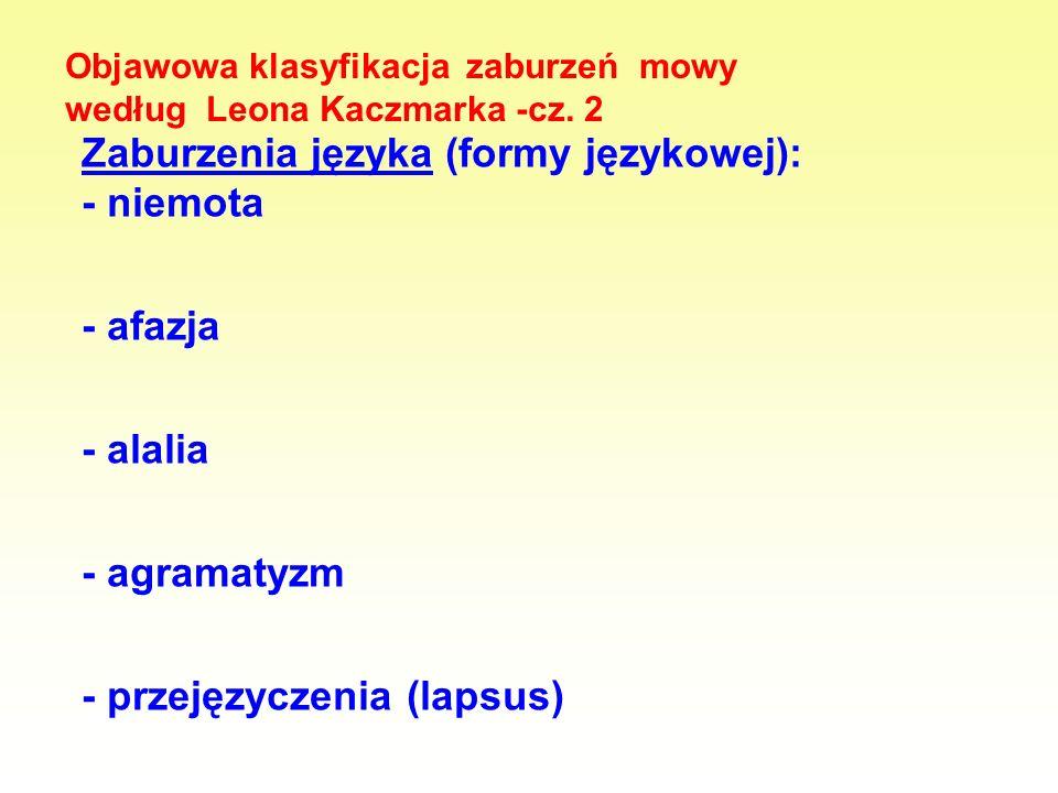 Objawowa klasyfikacja zaburzeń mowy według Leona Kaczmarka -cz. 2 Zaburzenia języka (formy językowej): - niemota - afazja - alalia - agramatyzm - prze