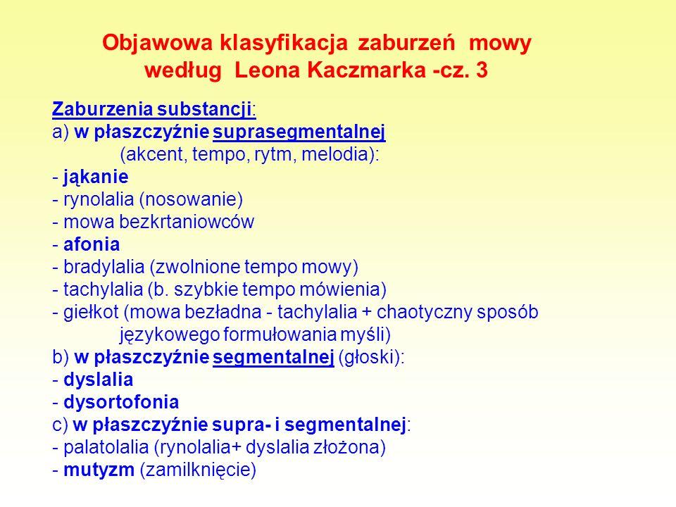 Objawowa klasyfikacja zaburzeń mowy według Leona Kaczmarka -cz. 3 Zaburzenia substancji: a) w płaszczyźnie suprasegmentalnej (akcent, tempo, rytm, mel