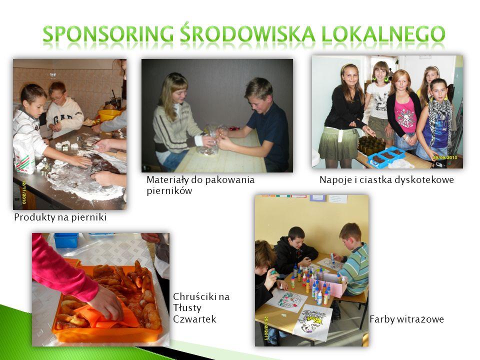 Produkty na pierniki Materiały do pakowania pierników Napoje i ciastka dyskotekowe Farby witrażowe Chruściki na Tłusty Czwartek