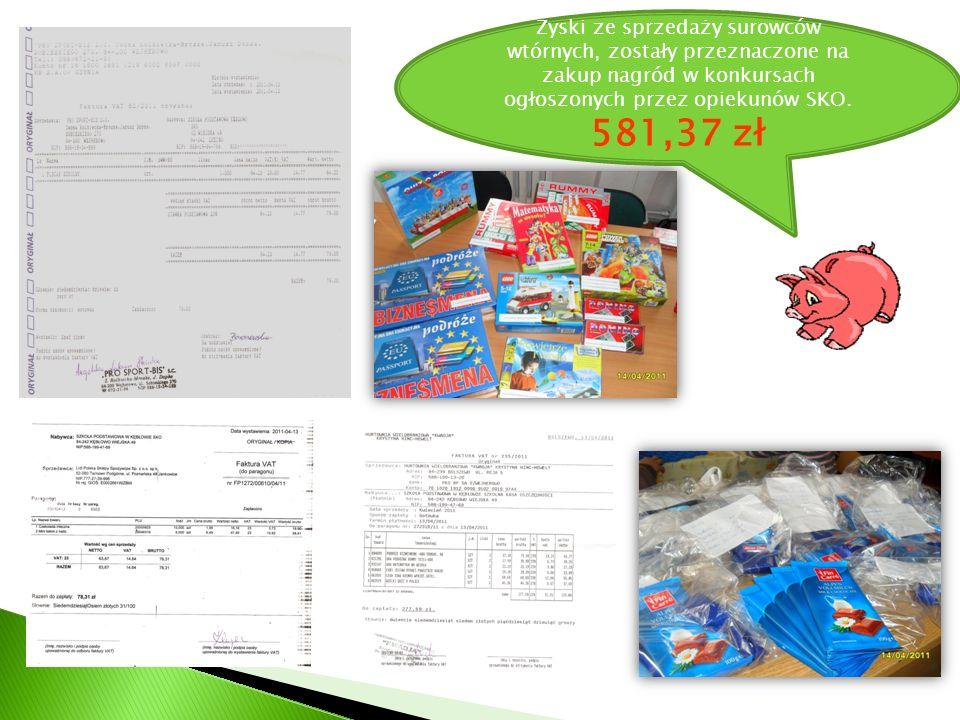 Zyski ze sprzedaży surowców wtórnych, zostały przeznaczone na zakup nagród w konkursach ogłoszonych przez opiekunów SKO. 581,37 zł