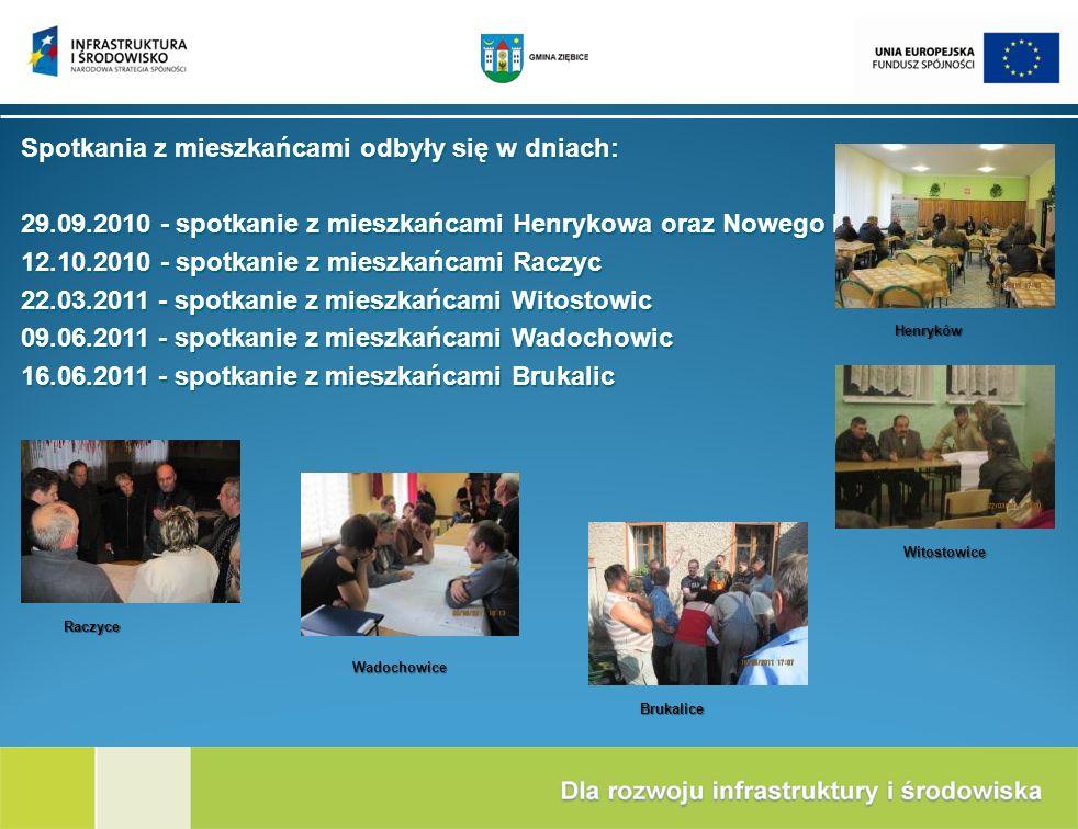 Spotkania z mieszkańcami odbyły się w dniach: 29.09.2010 - spotkanie z mieszkańcami Henrykowa oraz Nowego Dworu 12.10.2010 - spotkanie z mieszkańcami