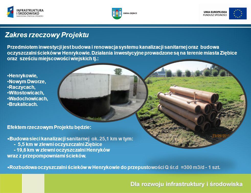 Zakres rzeczowy Projektu Przedmiotem inwestycji jest budowa i renowacja systemu kanalizacji sanitarnej oraz budowa oczyszczalni ścieków w Henrykowie.