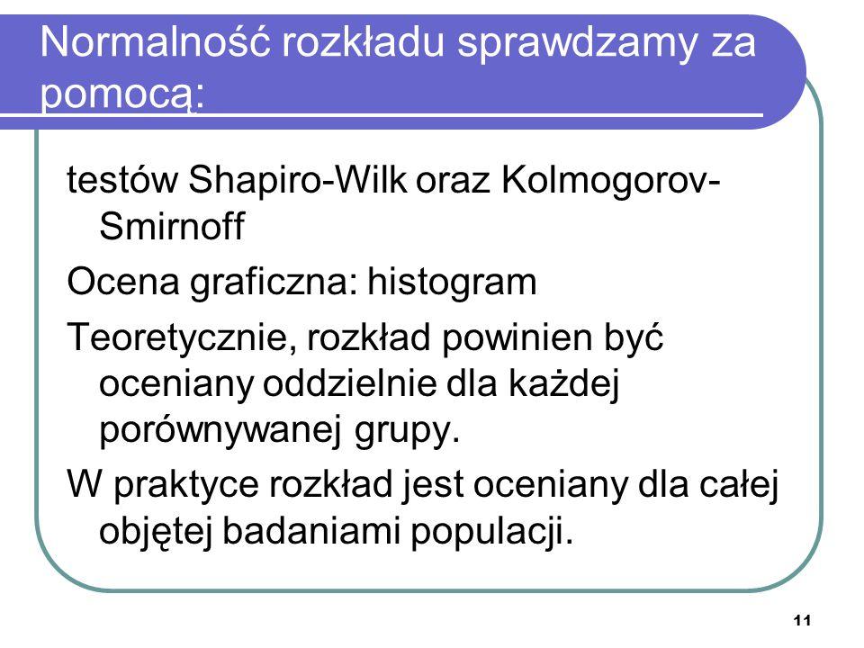 Normalność rozkładu sprawdzamy za pomocą: testów Shapiro-Wilk oraz Kolmogorov- Smirnoff Ocena graficzna: histogram Teoretycznie, rozkład powinien być