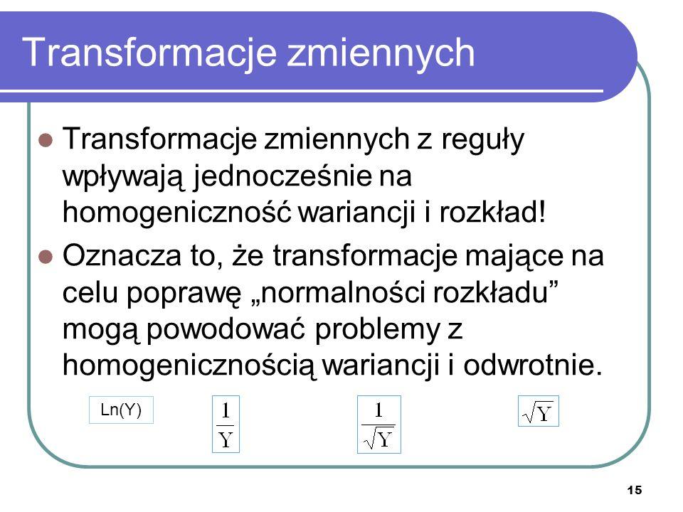 Transformacje zmiennych Transformacje zmiennych z reguły wpływają jednocześnie na homogeniczność wariancji i rozkład! Oznacza to, że transformacje maj