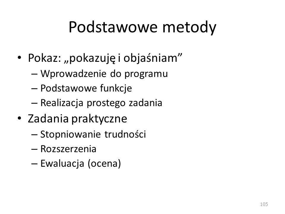 Podstawowe metody Pokaz: pokazuję i objaśniam – Wprowadzenie do programu – Podstawowe funkcje – Realizacja prostego zadania Zadania praktyczne – Stopn