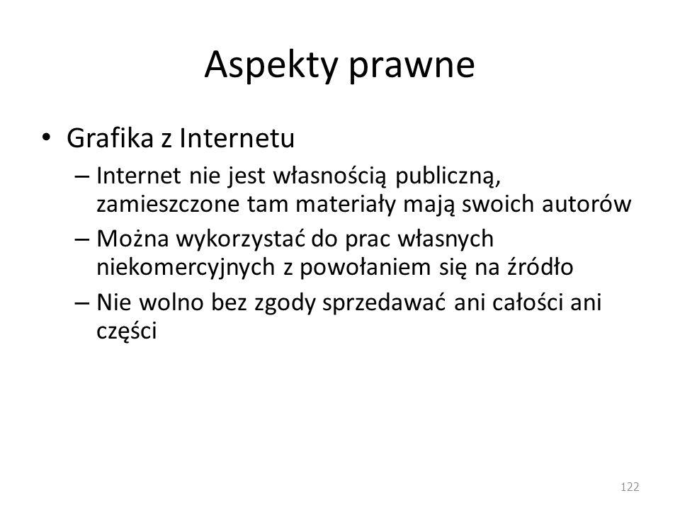 Aspekty prawne Grafika z Internetu – Internet nie jest własnością publiczną, zamieszczone tam materiały mają swoich autorów – Można wykorzystać do pra