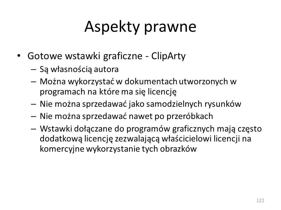 Aspekty prawne Gotowe wstawki graficzne - ClipArty – Są własnością autora – Można wykorzystać w dokumentach utworzonych w programach na które ma się l