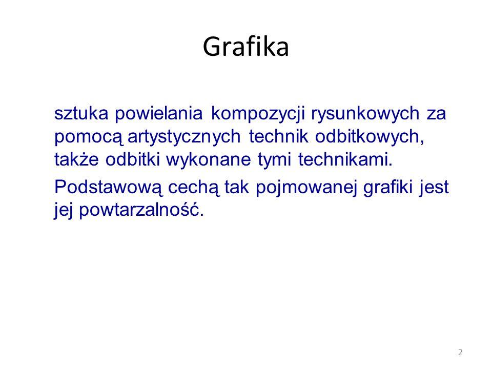 Techniki graficzne Drzeworyt Miedzioryt, staloryt Litografia Linoryt Akwaforta (kwasoryt) Akwatinta (kwasoryt płaszczyznowy) Mezotinta Suchoryt (sucha igła) 3