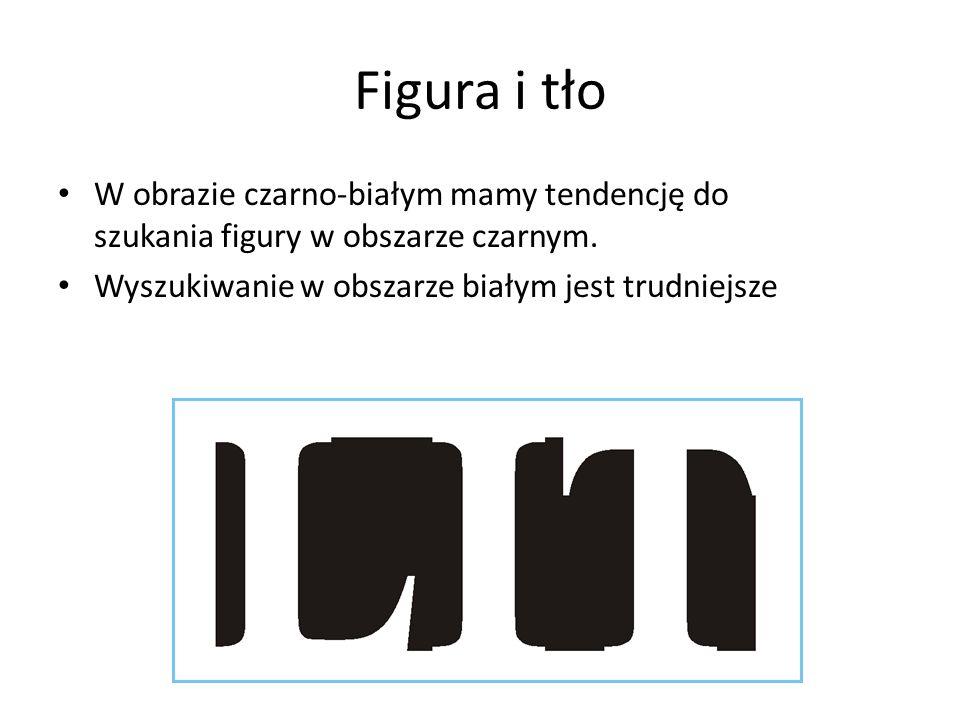 Figura i tło W obrazie czarno-białym mamy tendencję do szukania figury w obszarze czarnym. Wyszukiwanie w obszarze białym jest trudniejsze