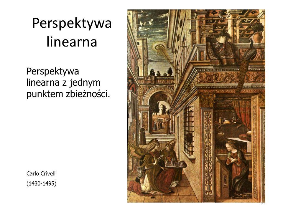 Perspektywa linearna 51 Perspektywa linearna z jednym punktem zbieżności. Carlo Crivelli (1430-1495)