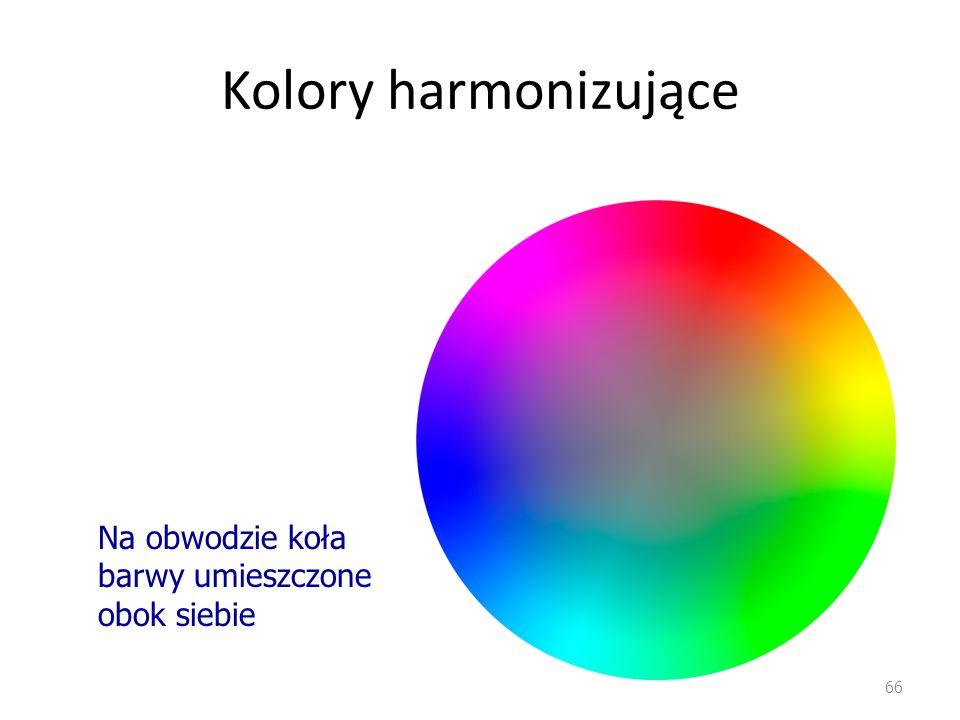 Kolory harmonizujące 66 Na obwodzie koła barwy umieszczone obok siebie