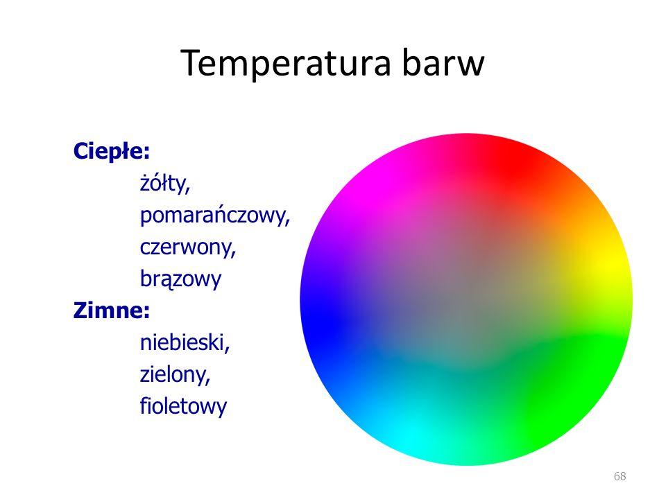 Temperatura barw 68 Ciepłe: żółty, pomarańczowy, czerwony, brązowy Zimne: niebieski, zielony, fioletowy