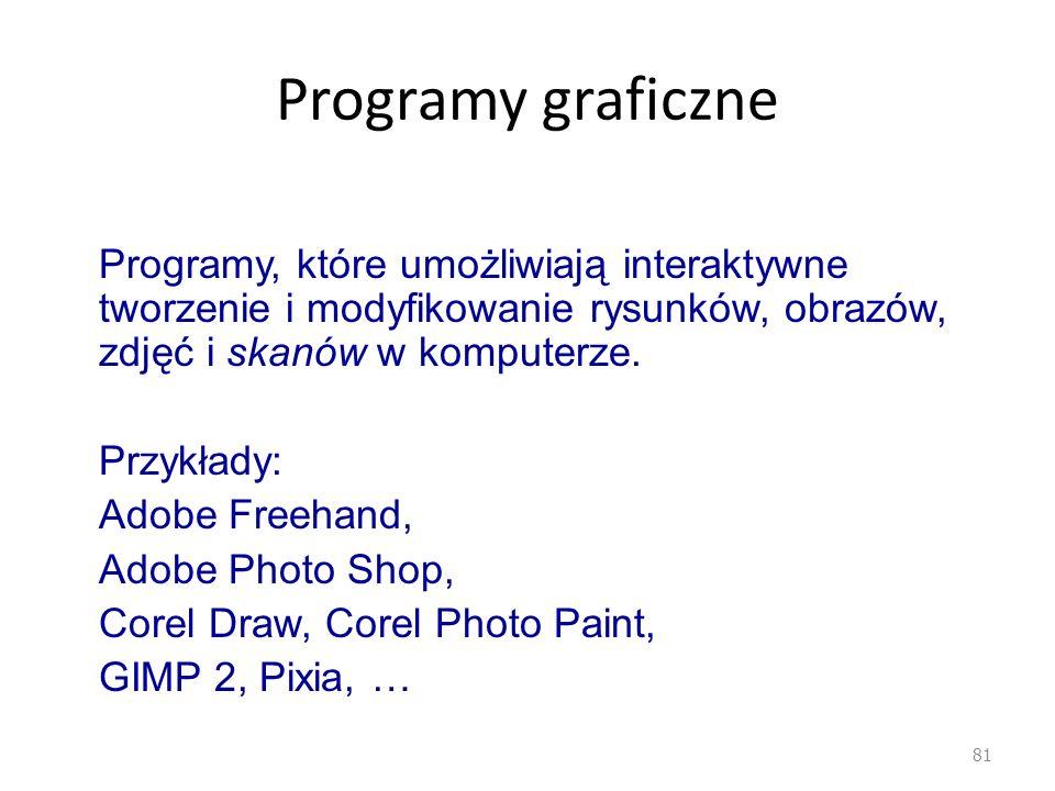 Programy graficzne 81 Programy, które umożliwiają interaktywne tworzenie i modyfikowanie rysunków, obrazów, zdjęć i skanów w komputerze. Przykłady: Ad